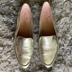 kate spade Shoes - Kate Spade Gold Foul Loafer
